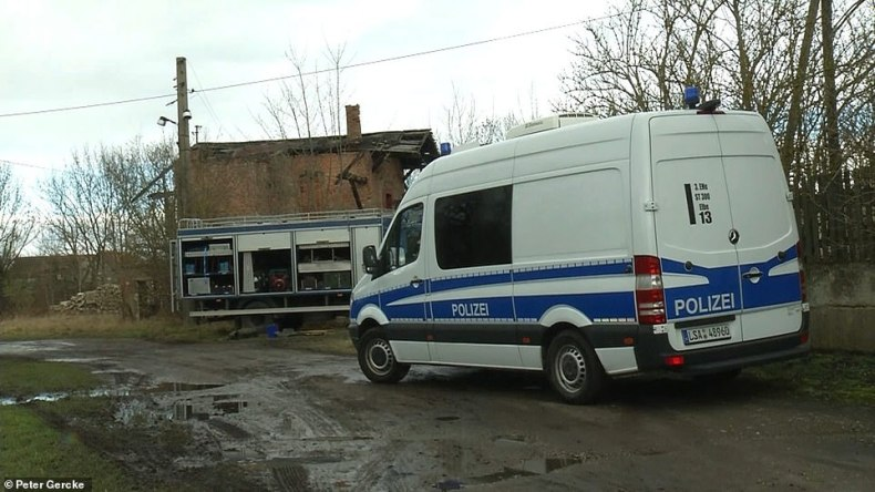 More than 100 police officers descended on the site in February 201 (pictured), digging holes looking for missing Inga