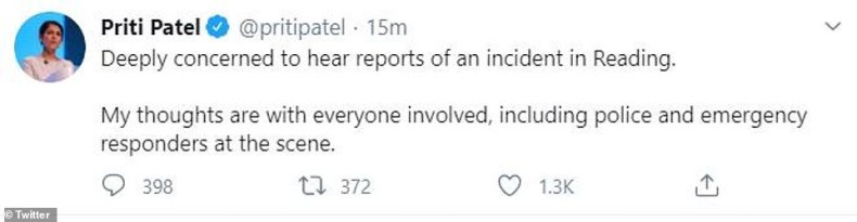 Home Secretary Priti Patel, who is said to be closely monitoring the situation, said she was 'deeply concerned' by the incident