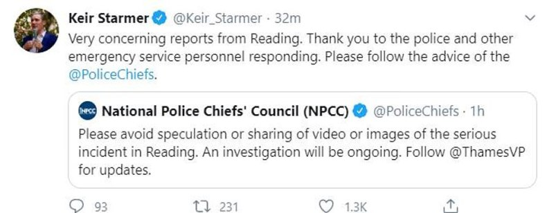 Labour Leader Sir Keir Starmer has described the stabbing in Reading as 'very concerning'