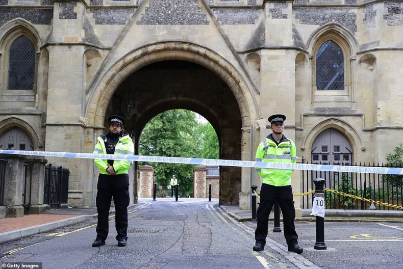 A man killed three people in a knife attack at a park in Reading (pictured: the entrace being closed by police) and witnesses have revealed their first-hand accounts of the attack
