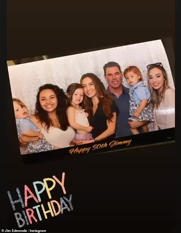 Family matters: One of the many photos included the former Anaheim Angel and St. Louis Cardinal standout proudly posing with O'Connor and four of his children