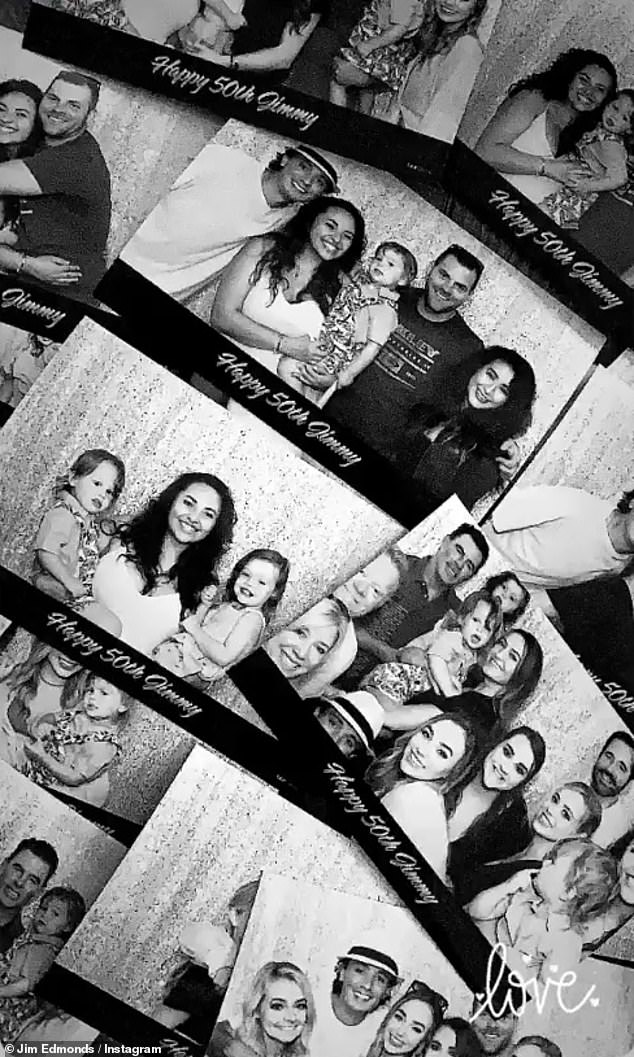 Photo booth: To give a better view at the sheer amount of photos taken during the bash, Edmonds laid many of them out on a table and shot video and posted on his Insta-Story