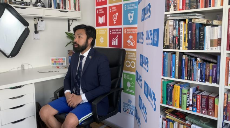 Henri Abued Manzano, a tour guide at the United Nations Information Service (UNIS) in Vienna, speaks from his apartment.