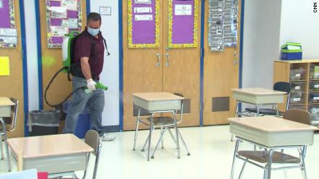 Classrooms used for looking after the children of essential workers are cleaned frequently.