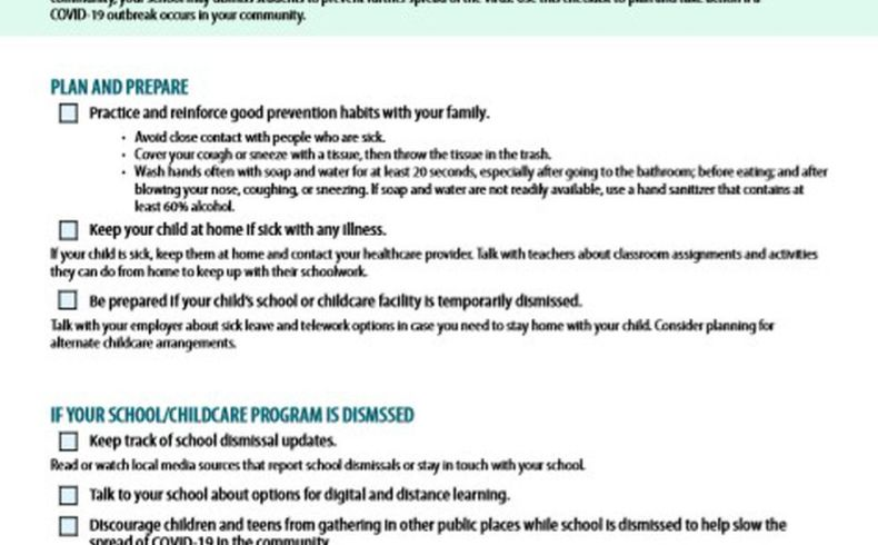 The CDC has checklist for parents to get their children ready for school amid the coronavirus.