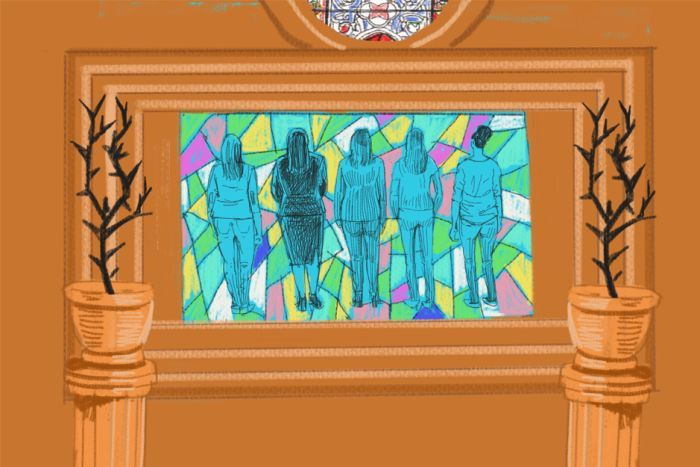 An illustration shows several women framed in a stained glass window.