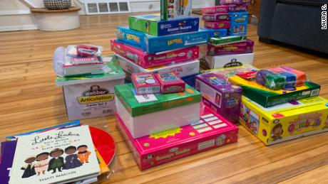 Laura Ciervo has received tons of offices supplies that she says will help her students achieve their speech and language goals.