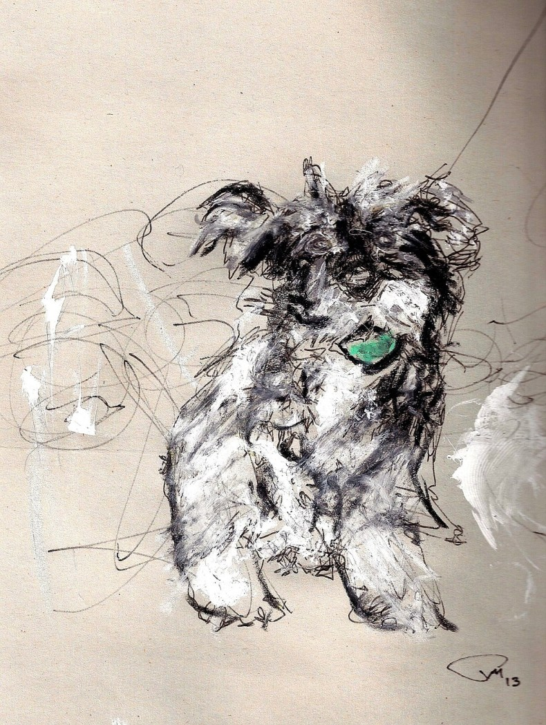 Philip Martin created this drawing of Audi, one of his dogs.