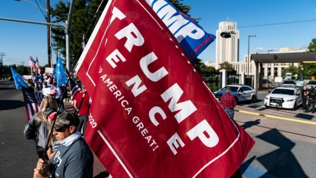 Supporters of US President Donald Trump gather outside Walter Reed Military Medical Center on October 3, 2020