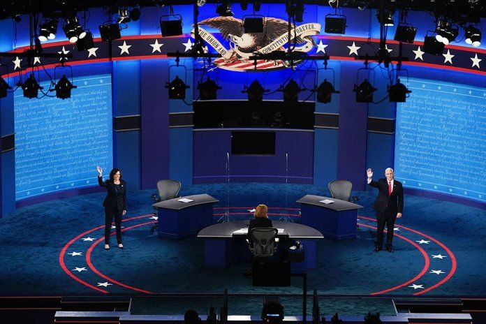 US Vice President Mike Pence and Democrat Kamala Harris, Vice Presidential Candidate, on a stage where they held a political debate.