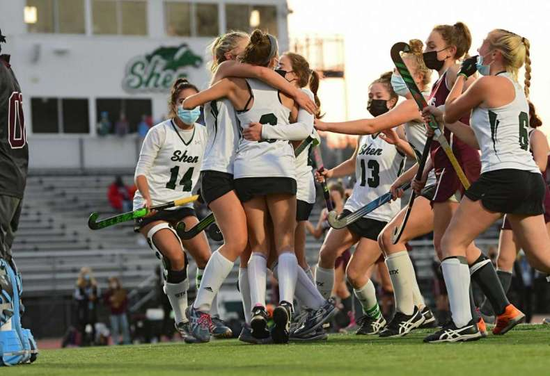 Shenendehowa celebrates after Kendall Eggleston scores the first of her two goals against Burnt Hills in the Suburban Council field hockey final on Friday, Nov. 20, 2020 in Clifton Park, N.Y. (Lori Van Buren/Times Union)