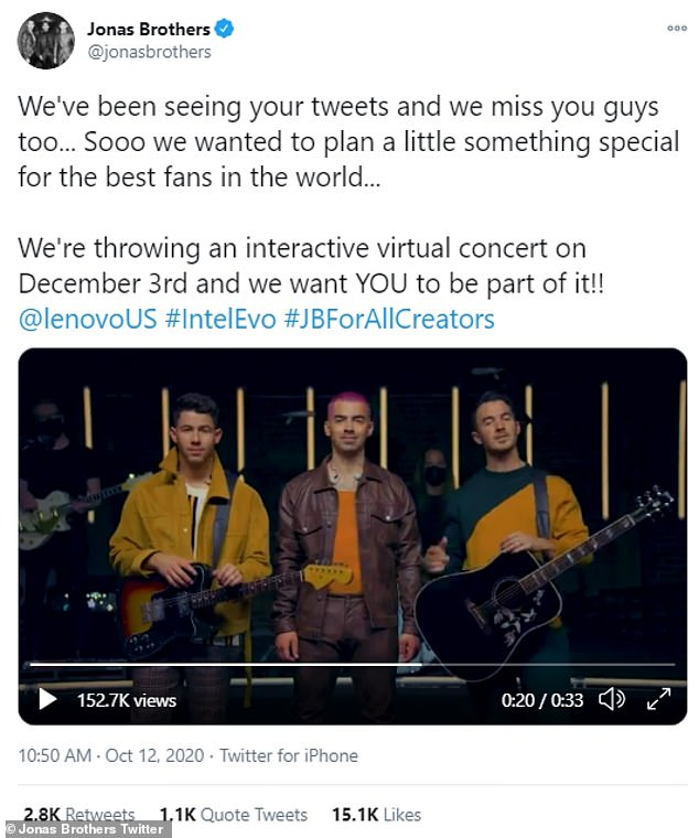 Virtual concert: The Jonas Brothers are uniting for a virtual concert that will take place on December 3rd. The interactive show will allow its attendees to help curate the set list for the concert, as they aim to connect with their fans during these challenging times