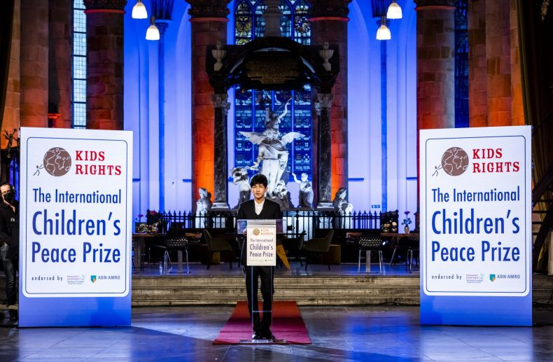 Sadat Rahman delivers a speech after being awarded with the International Children's Peace Prize 2020, on November 13, 2020 in the Hague. (Photo by REMKO DE WAAL/ANP/AFP via Getty Images)