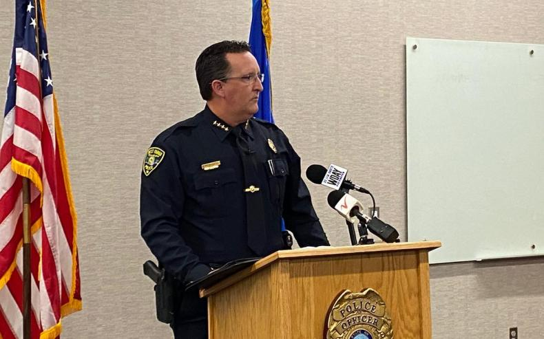 West Fargo Police Chief Denis Otterness talks about charges against former West Fargo teacher Ronald Thompson at a press conference Wednesday, Feb. 24. Wendy Reuer / West Fargo Pioneer