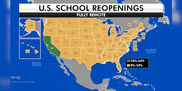 California has more districts operating remote-only than any other state in the U.S., the data shows. (Fox News)
