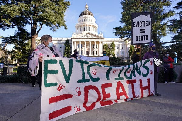 Demonstrators gathered at the State Capitol in Sacramento in January to call for rent forgiveness and stronger eviction protections.