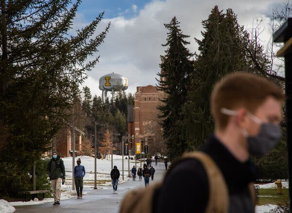 Students walking through campus last month at the University of Idaho in Moscow, Idaho.