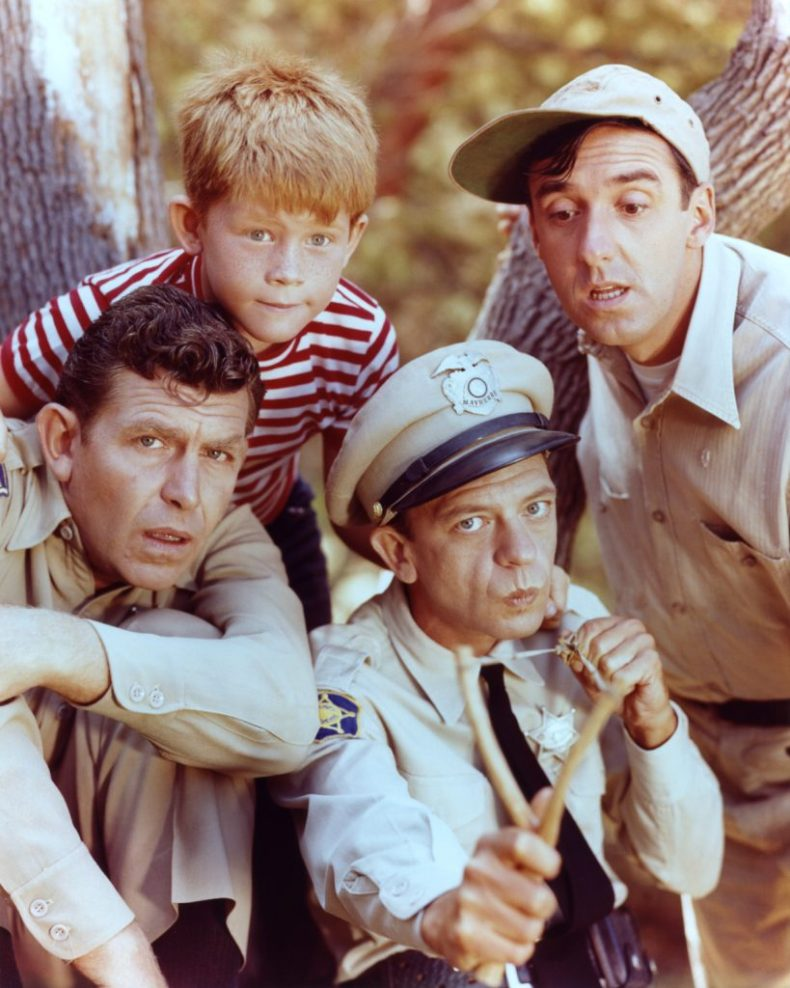 Ron Howard, Jim Nabors, Andy Griffith, and Don Knotts of 'The Andy Griffith Show'