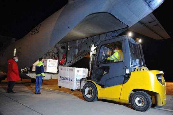 A forklift unloading boxes of the Sputnik V vaccine at the International Airport in Kosice, Slovakia, last month.