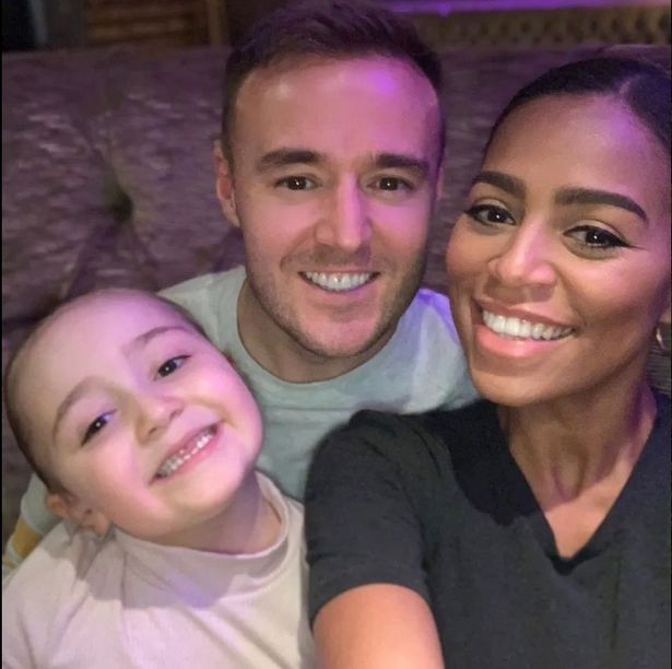 Alan Halsall and Tisha Merry with his daughter Sienna-Rae