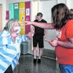 Columbus East special education teacher Peggy Myers, left, plays an improv game with Abigail Baker during class at Columbus East High School in Columbus, Ind., Tuesday, May 25, 2021. Myers was recently named as the recipient of the 2021 Edna V. Folger Outstanding Teacher Award. Mike Wolanin   The Republic
