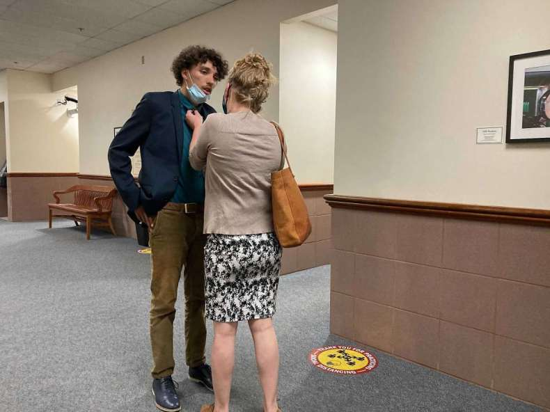 Azrael Vargas with his mother, Ymilul Bates, outside the courtroom in Martinez on Tuesday afternoon.