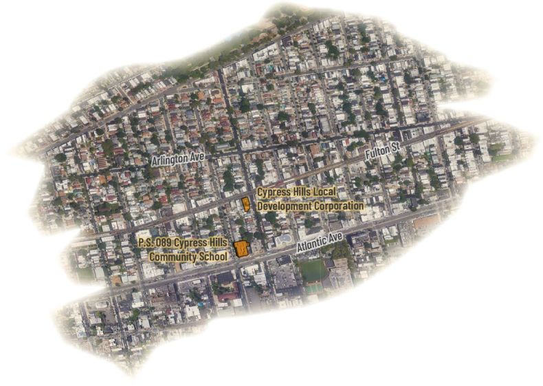Satellite view of the Cypress Hills neighborhood showing the Cypress Hills Local Development Corporation and P.S. 89, which are two blocks apart.