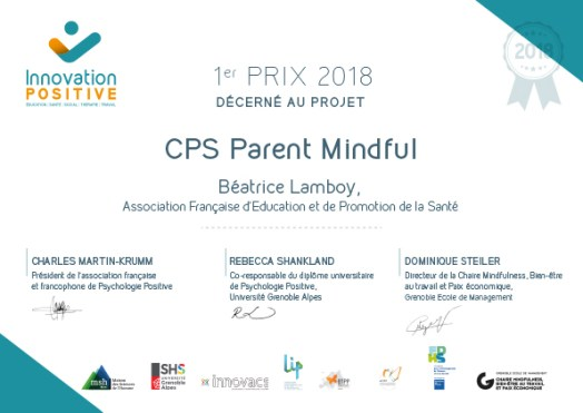 Prix Innovation Positive Parentalité 2017 CPS MINDFUL afeps
