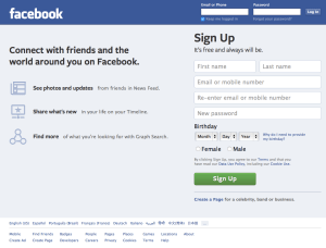 Facebook's Log In page