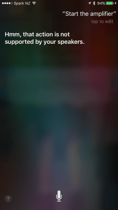 Siri responds that amplifier is not a valid function for