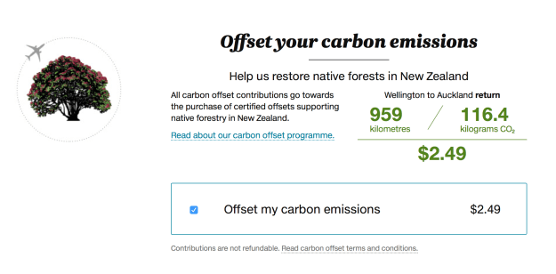 Wellington to Auckland Carbon Offset Cost $2.49