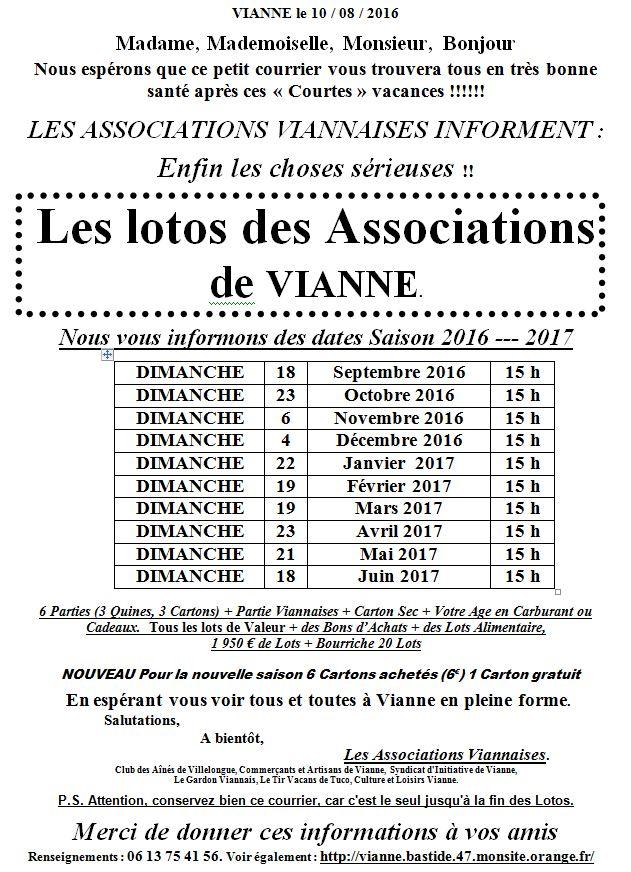 Loto lettre pour reprise des lotos 2016-2017