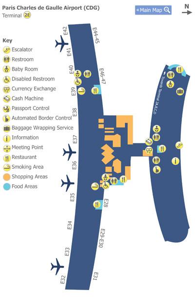 Map Of Charles De Gaul Airport : charles, airport, Paris, Charles, Gaulle, Airport, (CDG), Terminal