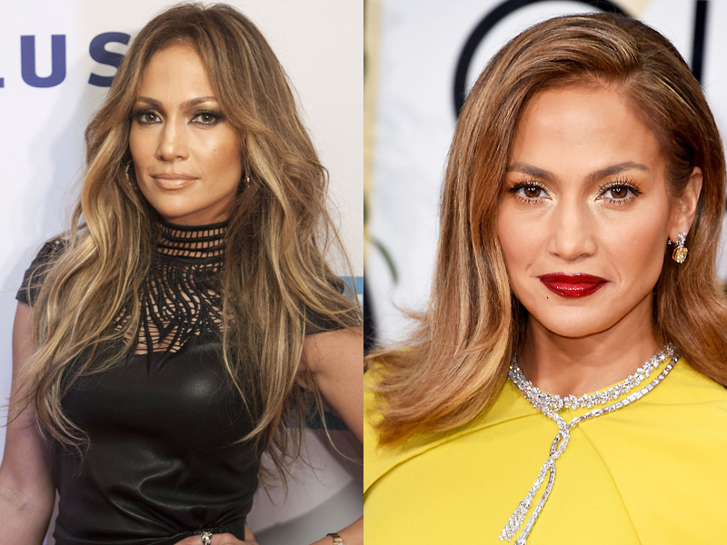 Celebrities before and after hair extensions chic luxurious hair j lo has had enviably long and silky locks for as long as we can remember however shes recently been rocking a very short and sassy bob pmusecretfo Choice Image