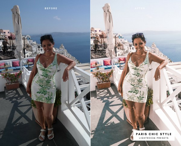 Before & After Santorini Greece Lightroom Presets 1.1 Desktop Mobile Instagram Blog Fashion Lifestyle Travel Paris Chic Style 1