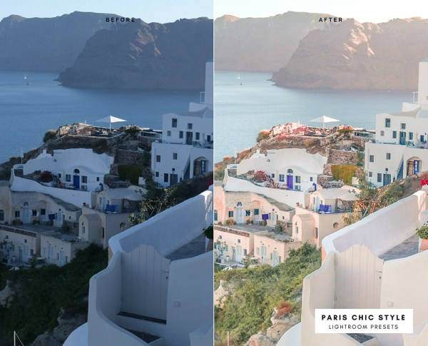 Before & After Santorini Greece Lightroom Presets 1.1 Desktop Mobile Instagram Blog Fashion Lifestyle Travel Paris Chic Style 6