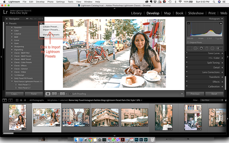 Click to Import Lightroom Presets Paris Chic Style