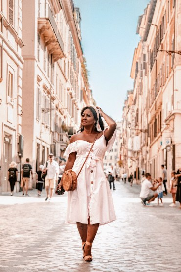 How-To-Wear-Off-Shoulder-Dress-Light-Blush-Pink-Button-Down-Dress-Rattan-Straw-Basket-Bag-Flat-Sandal-Headwrap-Paris-Chic-Style-Fashion-Lookbook-Street-Style-2