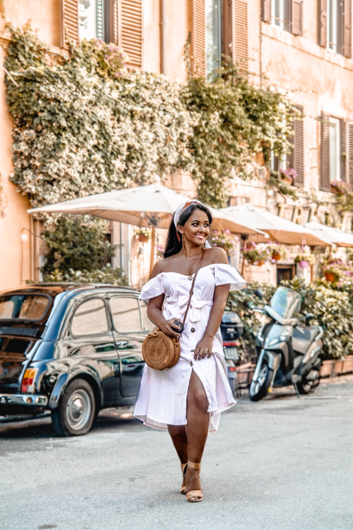 How To Wear Off Shoulder Dress Light Blush Pink Button Down Dress Rattan Straw Basket Bag Flat Sandal Headwrap Paris Chic Style Fashion Lookbook Street Style ootd Outfit Of The Day 4