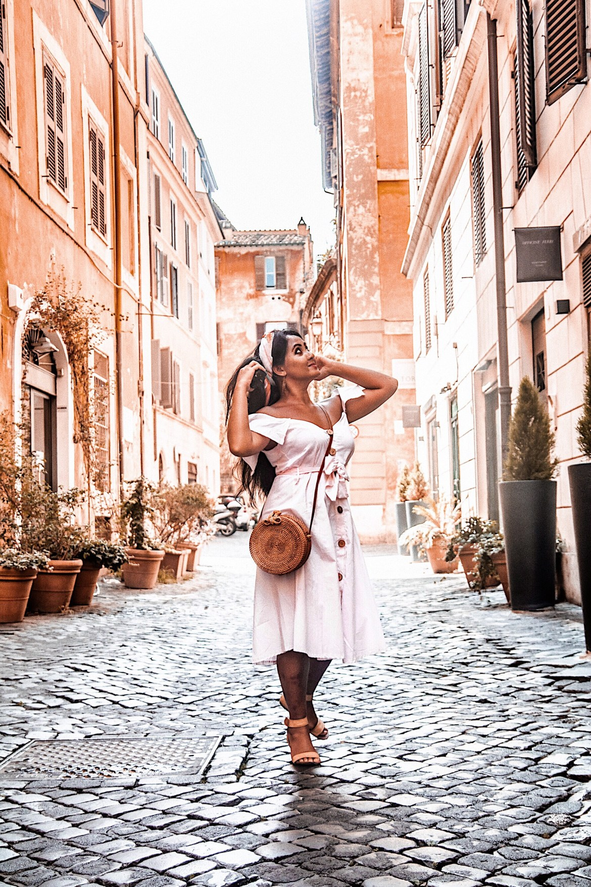How-To-Wear-Off-Shoulder-Dress-Light-Blush-Pink-Button-Down-Dress-Rattan-Straw-Basket-Bag-Flat-Sandal-Headwrap-Paris-Chic-Style-Fashion-Lookbook-Street-Style-Rome-Italy-ootd Outfit Of The Day-6