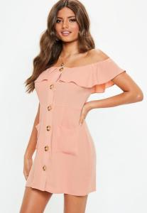 How-to-wear-off-shoulder-dress-orange bardot frill button front a line dress-light-pink-white-dress-Paris-Chic-Style-2