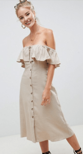 How-to-wear-off-shoulder-dress-white-bardot-frill-button-front-a-line-dress-light-pink-white-dress-Paris-Chic-Style-5