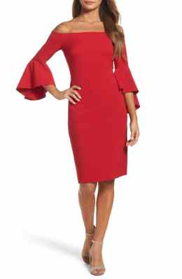 Best Red Dress How To Wear A Red Dress Off the Shoulder Dress CHELSEA28 Paris Chic Style 6