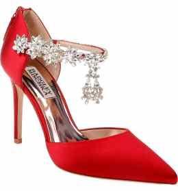 What Color Shoes To Wear With A Red Dress Red Shoes Venom Crystal Embellished Pump BADGLEY MISCHKA Paris Chic Style 3