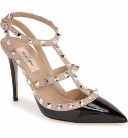 What Color Shoes To Wear With A Red Dress Two Tone Mixed Color Shoes Rockstud T-Strap Pump VALENTINO GARAVANI Paris Chic Style 2