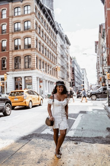 what to wear in new york city paris chic style off the shoulder white dress