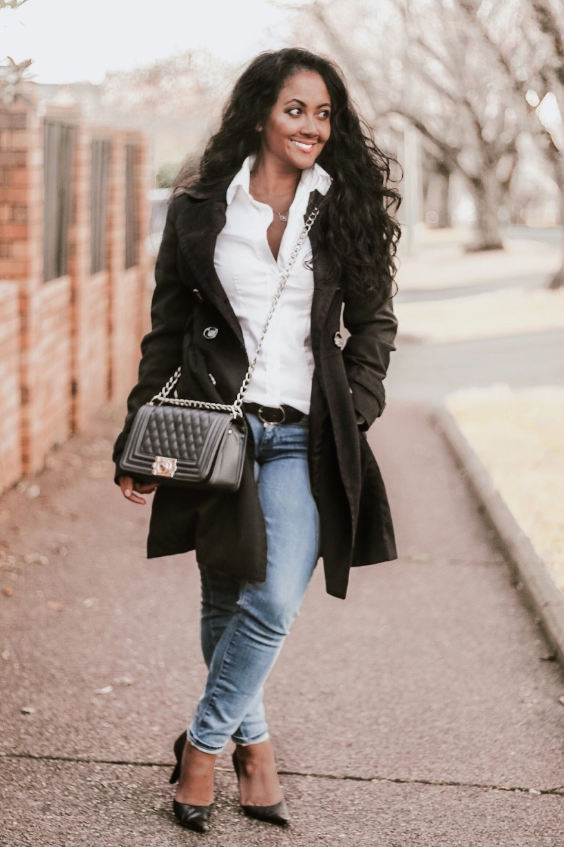 French style outfit Parisian Button Down White Long Sleeve Shirt Trench Coat Pump Heels What To Wear In Paris Chic Style