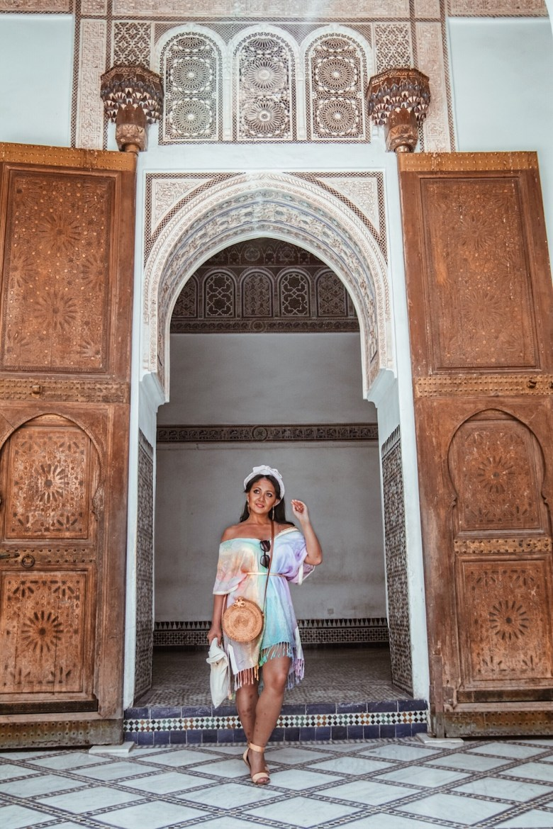 French style outfits girls Parisian colorful dress colored straw bag flat sandals Marrakech Morocco what to wear in Paris Chic Style