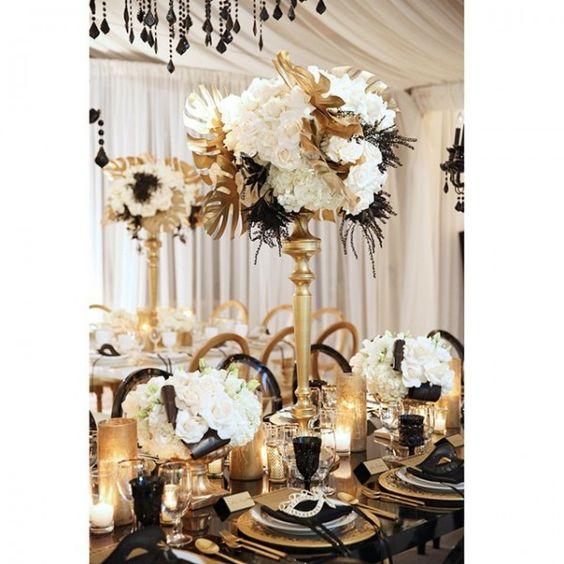Thème-mariage-années-folles-table-noir-blanc-or