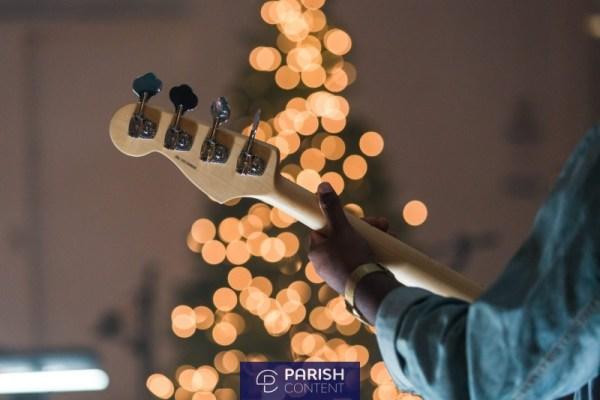 Christmas Playing Bass Guitar